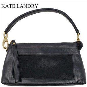 KATE LANDRY Black Leather Purse Fur Inset